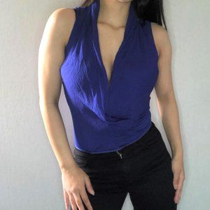 MARCIANO silk electric blue top